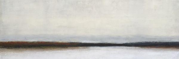 "Middle Ground, oil and ceramic stucco on canvas, 15″ x 30,"" Copyright 2016 chriscoxart.com (Pennsylvania)"