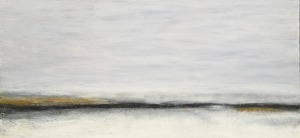 "Vanishing Point, oil and ceramic stucco on canvas, 15″ x 30,"" Copyright 2016 chriscoxart.com"