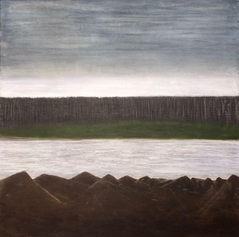 "Black Rock, oil on canvas, 36″ x 36,"" Copyright chriscoxart.com 2015"