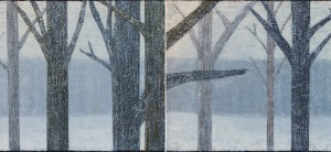 "Trees In The Snow, oil on canvas, 30″ x 80,"" Copyright chriscoxart.com"