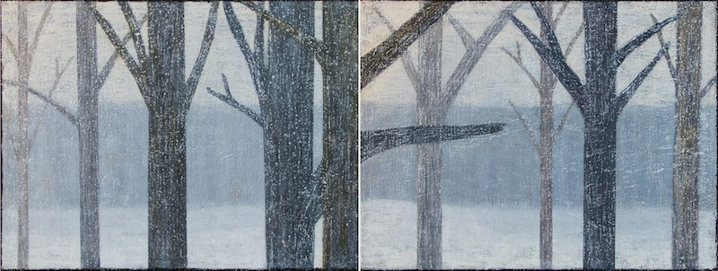 """Trees In The Snow, oil on canvas, 30″ x 80,"""" Copyright chriscoxart.com"""