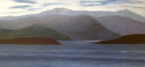 "Ullapool, oil on canvas, 24″ x 48,"" Copyright 2017 chriscoxart.com"