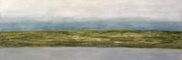 "Loch, oil and ceramic stucco on canvas, 48″ x 48,"" Copyright 2018 chriscoxart.com(Pennsylvania)"