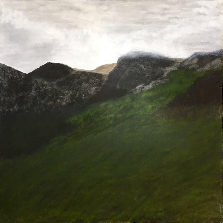 "Cairn, oil and ceramic stucco on canvas, 48″ x 48,"" Copyright 2018 chriscoxart.com"