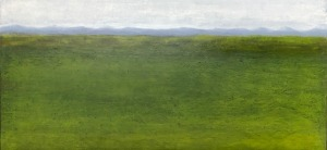 "Cluain, oil and ceramic stucco on canvas, 36″ x 36,"" Copyright 2018 chriscoxart.com"
