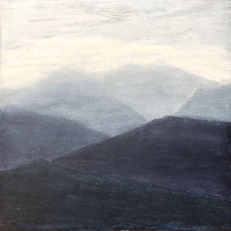 "Blue Mountains, oil on canvas, 36″ x 36,"" Copyright chriscoxart.com"