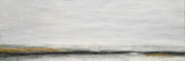 "Vanishing Point, oil and ceramic stucco on canvas, 15″ x 30,"" Copyright 2016 chriscoxart.com, owned by collector in Washington"