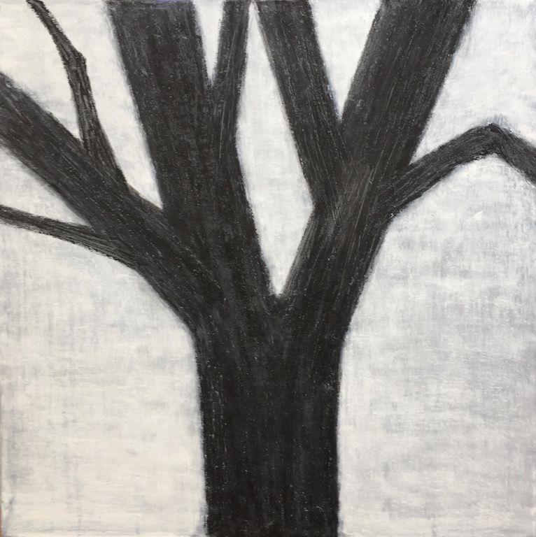 "Black Tree, oil on canvas, 24″ x 24,"" Copyright 2017 chriscoxart.com"