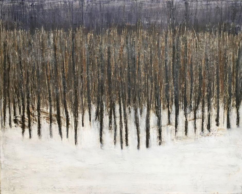 "January Trees, oil on canvas, 16″ x 20,"" Copyright 2017 chriscoxart.com"