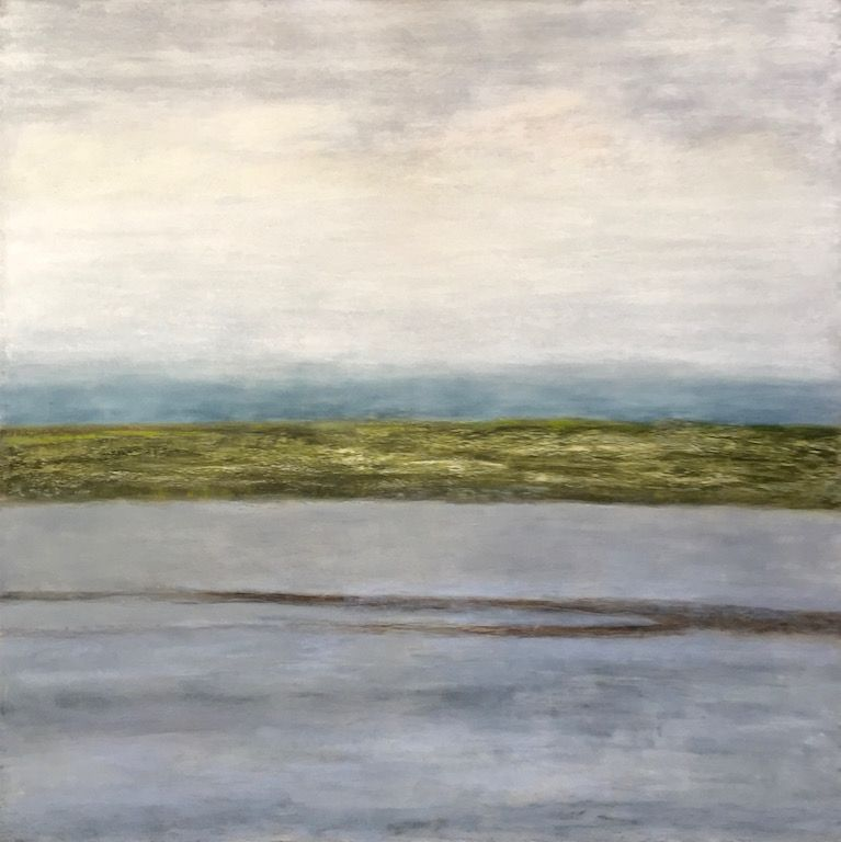 "Loch, oil and ceramic stucco on canvas, 48″ x 48,"" Copyright 2018 chriscoxart.com, purchased in 2018 by a Pennsylvania collector."