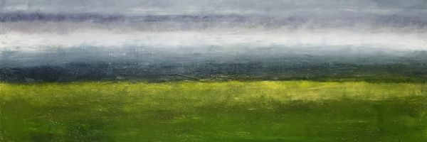 """Fen, oil and ceramic stucco on canvas, 16″ x 40,"""" Copyright 2018 chriscoxart.com, purchased in 2018 by a Pennsylvania collector."""