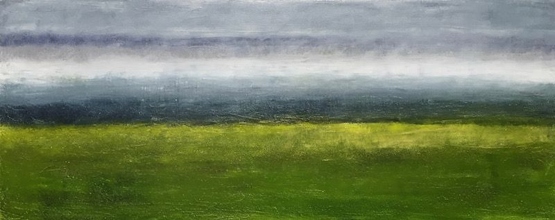 "Fen, oil and ceramic stucco on canvas, 16″ x 40,"" Copyright 2018 chriscoxart.com, purchased in 2018 by a Pennsylvania collector."