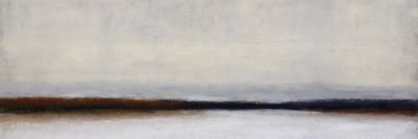 """Middle Ground, oil and ceramic stucco on canvas, 15″ x 30,"""" Copyright 2016 chriscoxart.com, purchased in 2019 by a Pennsylvania collector."""